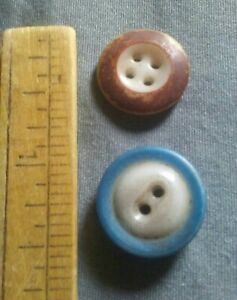 2 Antique China Glass Buttons.