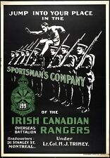 WW1 RECRUITING POSTER SPORTSMANS COM CANADIAN 199TH IRISH RANGERS  NEW A4 PRINT