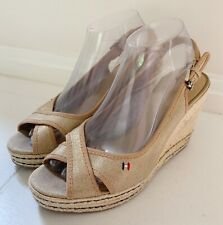 "c6141395 TOMMY HILFIGER""Papina""Women Espadrille Shoes 8 Wedge Heel Sandals Gold  Canvas"