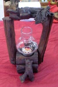 RUSTIC TEAK WOOD CANDLE/TEALIGHT  HOLDER HANDMADE WITH GLASS NEW DARK BROWN