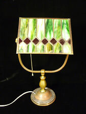 BEAUTIFUL SIGNED HANDEL DESK LAMP WITH STAINED GLASS SHADE - CIRCA 1915