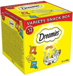 Dreamies Cat Treats Mixed Variety Snack Box Chicken Cheese Salmon Beef 12 x 60 g
