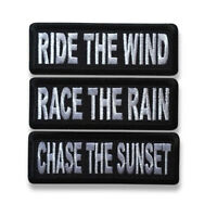 """3/"""" Ride The Wind Chase The Sunset Iron on Patch Biker Patch Set Race The Rain"""