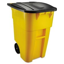 Trash Can Outdoor Rubbermaid Plastic Heavy Duty Large Lid 50 Gallon Wheel Yellow