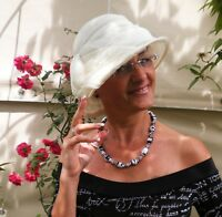 Sombrero Mujer Elegante de campana blanco crema para eventos boda Gorro  verano 57ca3429834