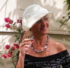 Sombrero Mujer Elegante de campana blanco crema para eventos boda Gorro verano