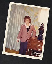 Vintage Photograph Cute Little Boy in Suit Standing in Retro Living Room