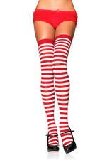 LEG AVENUE White & Red Stripe Striped Stockings Cyber  Punk Dolly Rave Xmas