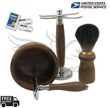 COMPLETE CLASSIC SHAVING SET Safety Razor & Brown Badger Brush MENS GROOMING KIT
