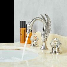 Rozin Brushed Nickel 2 Crystal Handle Widespread Bathroom Faucet Swan Design Tap