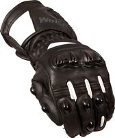 Weise Barracuda Mens Leather Black White Sports Motorcycle Gloves