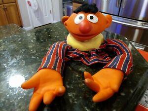Ernie Hand Puppet Vintage Muppets Plastic Head & Hands Sesame Street
