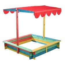Sandkasten mit Überdachung Sandkiste Holz Sonnenschutz Abdeckung Dach 117x117 cm