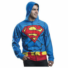 Superman Zip-Up Hoodie Muscle Print Sweatshirt DC Costume Cosplay Mens L/XL New