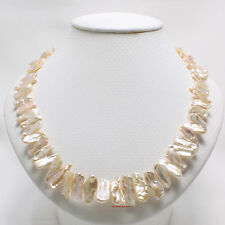 "A SIMPLE 18"" ROMANTIC PEACH BIWA PEARL NECKLACE WITH 8MM ALLOY MAGNETIC CLASP"