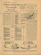 Triumph Renown 2 litre model 1950-52 Motor Trader Service Data No. 189 1952
