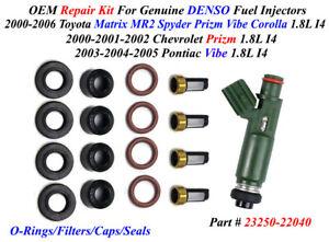 OEM DENSO Repair Kit NEW Caps/Filters/O-Rings For 4 Fuel Injectors 23250-22040