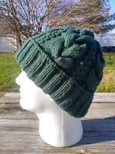 Mens Viking Beanie Hat Juniper Green Irish Aran Cabled Hand Knit Cap Acrylic