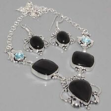 Beautiful Genuine Black Onyx Blue Topaz in 925 Silver Necklace &  Earrings Set