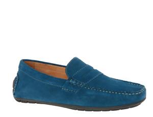 Mens Moccasins John White Suede Blue Jeans Colour New Shoes UK Size 7 8 9 10 12
