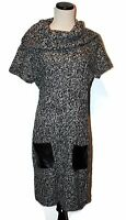 NWT ALLISON BRITTNEY Black Grey White Marled Cowl Neck Cap Slv Sweater Dress L