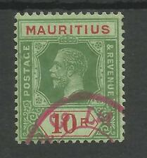 MAURITIUS SG204d  1922 GV 10r GREEN&RED/green ,EMRD BACK FINE USED C.£200 AS POS