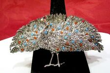 VINTAGE RARE 925 STERLING SILVER MARCASITE AND BEADS PEACOCK PIN BROOCH GERMANY