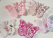 Wedding//Cards//Crafts 30no 3D Paper Butterflies Sugar Pink /& White Spotty