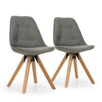 [OCCASION] Set 2 chaises designer Coque rembourrée Salon Salle à manger Bois bou