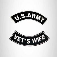US ARMY VET/'S WIFE VETERAN ROCKERS PATCHES SET FOR BIKER MOTORCYCLE VEST JACKET