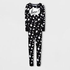 Girls Cat & Jack Halloween Pajamas Set Shirt Pants Black White Ghosts BOO SIZE 6