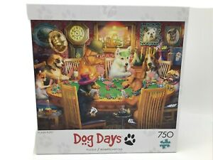 """Buffalo Puzzles Dog Days """"Poker Pups"""" 750 Piece Puzzle W/Poster(17330) Complete"""