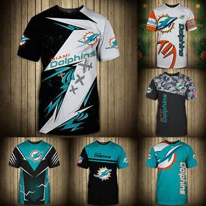 Miami Dolphins Men's T-shirt Summer Casual Short Sleeve Tee Top Shirts S-5XL