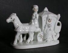 CALECHE ATTELAGE 2 CHEVAUX  porcelaine cheval  carosse  diligence  fiacre cochet