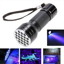Black Aluminium 21 LED UV Flashlight Torch Ultra Violet Blacklight Detection UK
