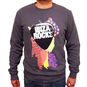 Ibiza Rocks Charcoal Sweater Colour Splash Logo Grey Sweatshirt Jumper