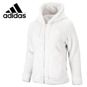 Adidas Must Haves Sherpa Women's Boa Full-Zip Hoodie Jacket White GF6970