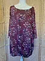 Ladies Burgundy Floral Tunic Top Lightweight Summer UK Plus Size 26/28