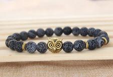 2015 New Design 8MM Weathering Agate Stone Beaded Energy Gold Owl Bracelet M3