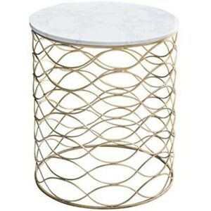 Beautiful, retro, round side table (marble, gold tone steel)