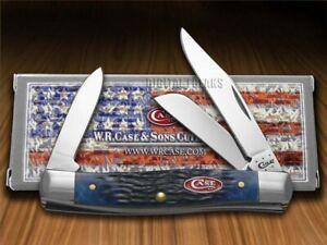 Case xx Med Stockman Knife Jigged Navy Blue Bone Stainless Pocket Knives 07049
