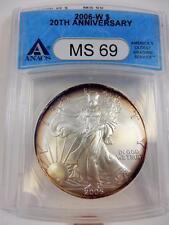 2006-W American Silver Eagle, ANACS MS 69, 20th Anniv., Rainbow Toned,  #B100