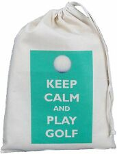 KEEP CALM AND PLAY GOLF - SMALL NATURAL COTTON DRAWSTRING BAG - Golfer storage