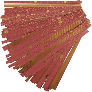 48 Papierstreifen für Fröbelsterne Rot / Gold, zum Falten von Sternen