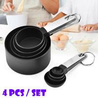 4Pcs Stainless Steel Measuring Cups Spoons Set Coffee Tea Kitchen Baking Gadget