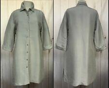 SILKLAND  Gray Button Front 100% Silk Shirt Dress Long Sleeves Sz L