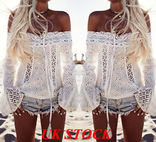 UK New Women Ladies Full Lace Loose Tops One Shoulder Long Sleeve T Shirt Blouse