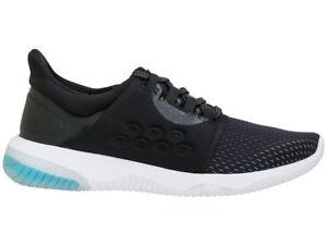 Women's Asics Black Phantom Blue Running Sports Gym Shoes Trainers UK 4