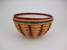 "Longaberger 2004 9"" Bowl Basket Combo Proudly American w Lidded Insert Old Glory"