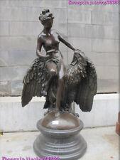 Western pure Bronze Marble Nude woman on Huge Eagle Art DECO statue